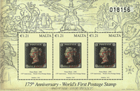 Malta - 175-året for første frimærke - Postfrisk miniark