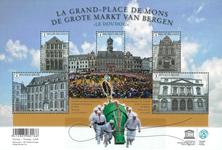 Belgien - Le Grand-Place de Mons - Postfrisk ark med lykke hestehår