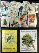 Parrots 2 souvenir sheets, 1 set and 20 stamps