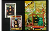 Mona Lisa 1 souvenir sheet and 2 stamps