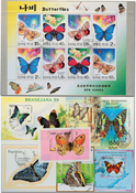Butterflies 7 souvenir sheets and 1 sheet