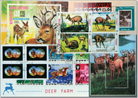 Deer 4 different souvenir sheets, 1 set and 1 block of four