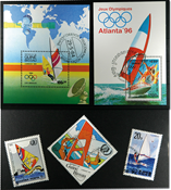 Windsurfing 2 different souvenir sheets and 3 stamps