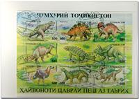 Tajikistan Pre-historic animal s 9 sheets