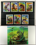 Tansania Pre-historic animals 1 souvenir sheet and  1 set