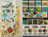 Fruits 3 souvenir sheets, 1 set and 46 different stamps