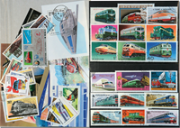 Trains 7 souvenir sheets, 3 sets and 21 different stamps