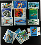 Swimming 16 different stamps