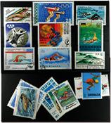 Svømning 16 forskellige frimærker