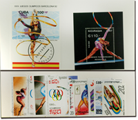 Rytmisk sport gymnastik 2 miniark og 9 frimærker