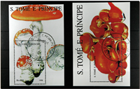 Mushrooms St. Tome 2 souvenir sheets