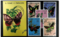 Butterflies St. Tome 1 souvenir sheet and  1 set I