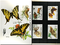 Butterflies St. Tome 1 souvenir sheet and  1 set II
