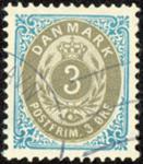 Danmark - Tofarvet øremærke - AFA nr. 22Cy - Stemplet