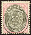 Danmark - Tofarvet øremærke - AFA nr. 28 - Stemplet