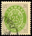Danmark - Tofarvet øremærke - AFA nr. 29y - Stemplet