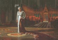 Jersey - Dronning Elizabeth længst regerende monark - Postfrisk silke miniark