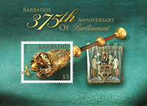 Barbados - Parlamentets jubilæum - Postfrisk miniark