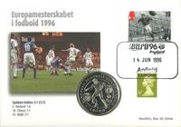 England - Kampkuvert med Tjekkiet/Italien - Fodbold-møntbrev