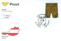 Austria - Leather trousers with Swarowski crystals - First Day Cover with leather and Swarowski crystals souvenir sheet