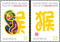 Australia - Year of the Monkey - Mint stamp 2v