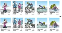 Danmark - Populære sportsgrene - Postfrisk hæfte