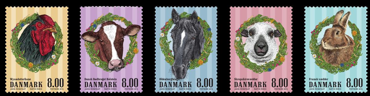 Danmark - Gårdens dyr - Postfrisk sæt 5v