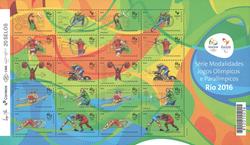 Brasilien 2016 - OL postfrisk ark - 20 frimærker orange/lysegrøn - Postfrisk ark 30 x 1,40