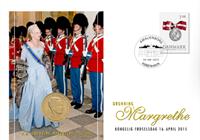 Danmark - Margrethes 75 års fødselsdag - Unikt møntbrev
