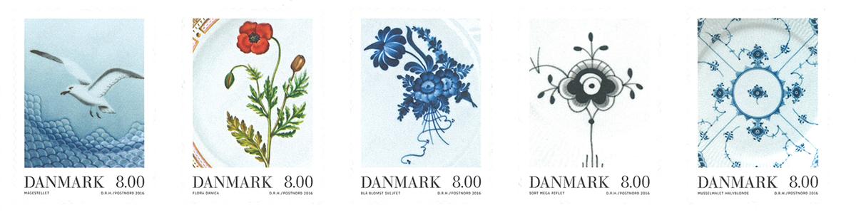 Danmark - Porcelæn - Postfrisk 5-stribe