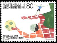 Liechtenstein 1998 - VM i fodbold - Postfrisk frimærke