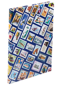Stockbook HOBBY - Blue stamps motif - Size A4 - 16  white pages