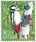 Latvia - Birds - Woodpecker - Mint stamp