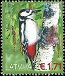 Letland - Spætte - Postfrisk frimærke