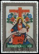 Østrig - Glasfrimærke Jomfru Pietá - Stemplet frimærke/miniark trykt med hinterglasteknik