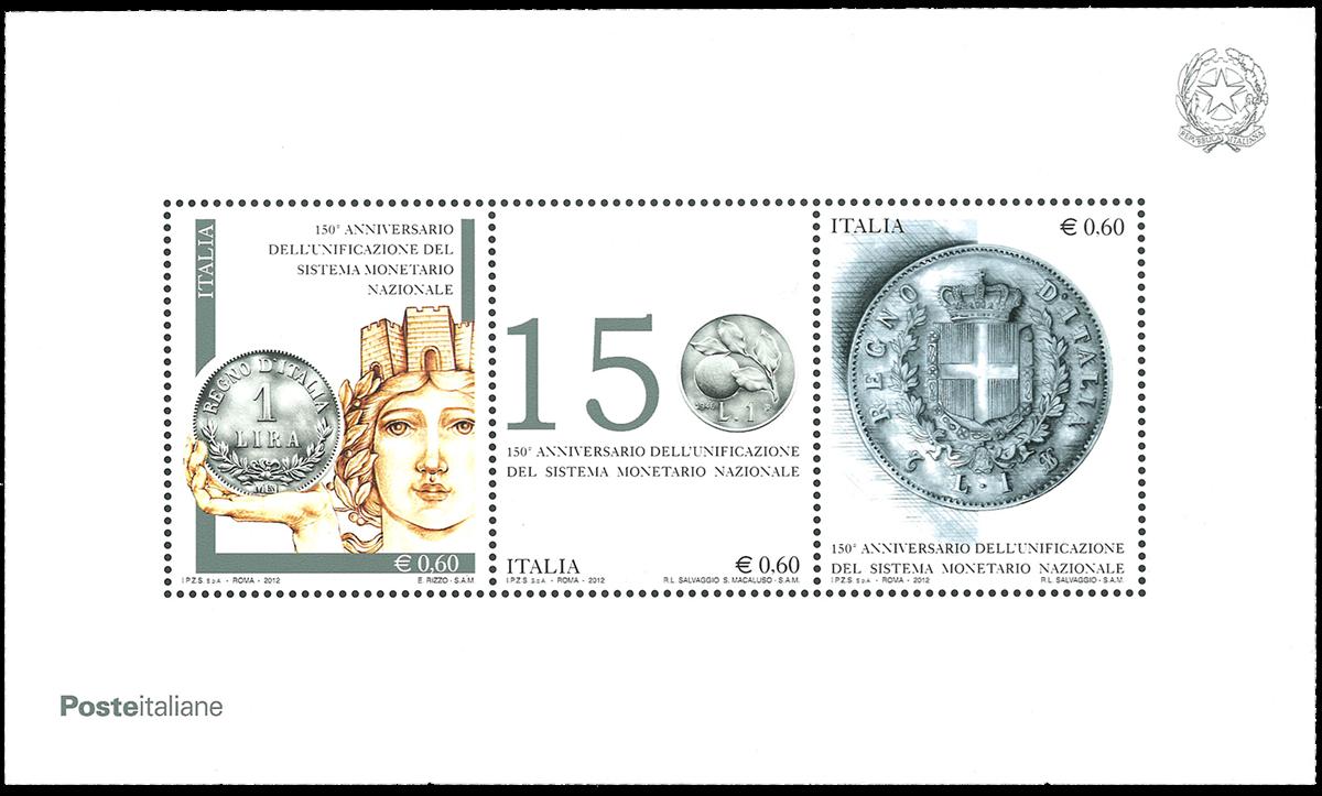 Italien - 150 års fælles møntfod - Postfrisk miniark