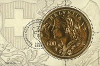 Schweiz - Guldmønt - Stemplet miniark med ægte guldlag