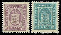 Danmark 1875 tjenestemærker 3+4 øre