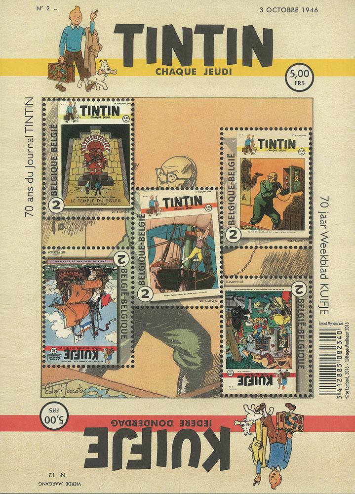 Belgien - Tintin avisen - Postfrisk ark