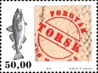Færøerne - Ægte torskeskind - Postfrisk frimærke