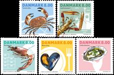Danmark - Skaldyr - Postfrisk sæt 5v