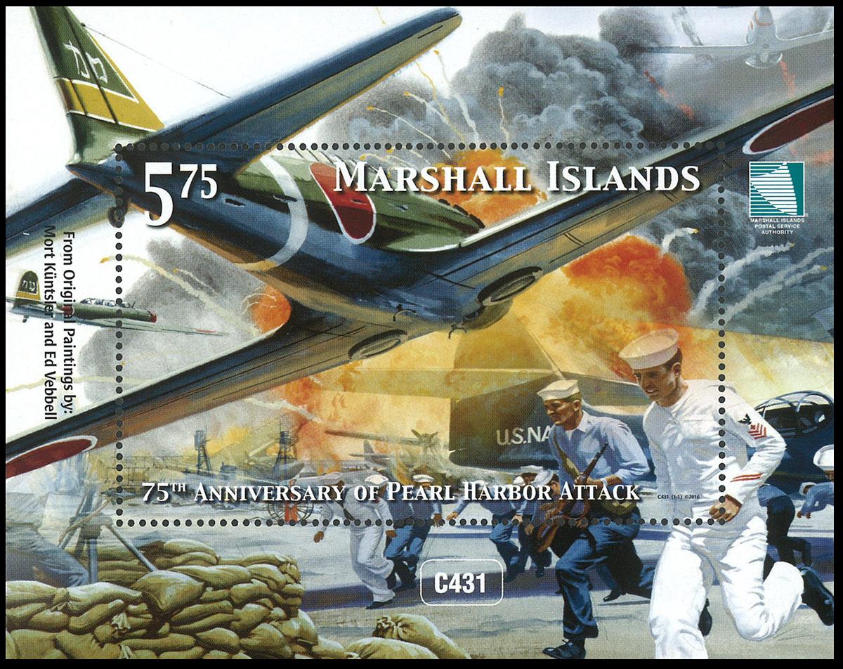 Marshall Øerne - 75-året for Pearl Harbour - Postfrisk miniark