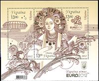 Ukraine - UEFA Polen-Ukraine guldovertryk - Miniark med ægthedsmærke på bagsiden. Oplag 30.000Michel værdi 150,- EUR