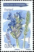 Fransk Andorra - Lavendel - Postfrisk frimærke