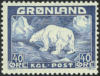 Greenland - Polar bear - 40 øre - Blue