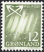 Greenland - 1963-1964. Northern Lights - 12 øre - Yellowish green