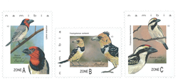 Namibia - Barbet fugle - Postfrisk sæt 3v