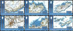 Alderney - Kort over Alderney og Burho - Postfrisk sæt 6v