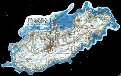 Alderney - Kort over Alderney og Burho - Postfrisk miniark