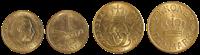 Danmark mønter gule 1 & 2 kr.